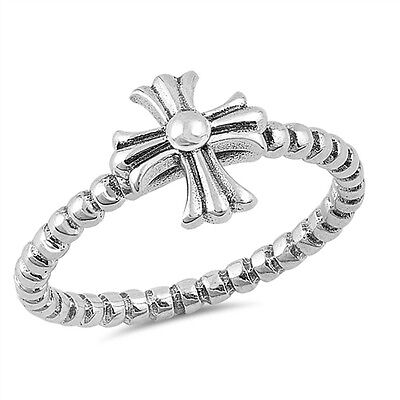 (.925 Sterling Silver Classic Iron Cross Religious Fashion Ring Size 4-10 NEW)