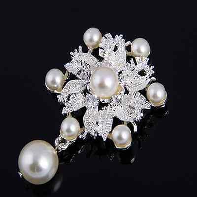 Silber Strass Broschen Blume Perlen Kleidung Dekor Brosche Braut Party Dekor