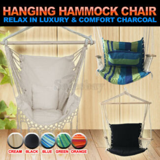 Outdoor Camping Deluxe Hanging Swing Hammock Include Soft Cushion