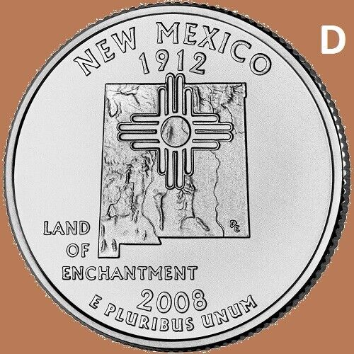 2008 D New Mexico Quarter 50 State Statehood Denver ~ UNC Uncirculated 2nd