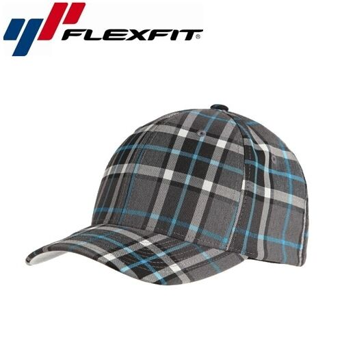 Flexfit Check Baseball Cap S/M Grau Turkis