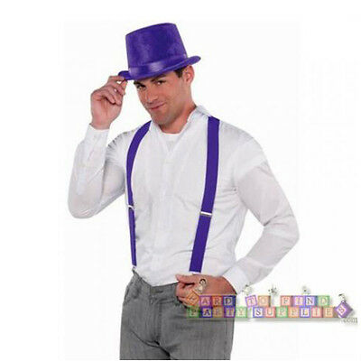 PURPLE COSTUME SUSPENDERS ~ Birthday Party Supplies School Spirit Colors - Spirit Halloween Supplies