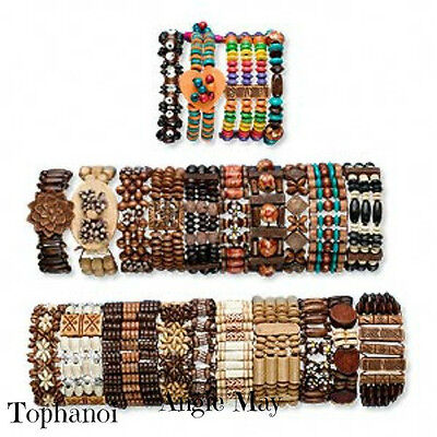 Wholesale Lot 24* Boho Wood Bracelets Great Jewelry Mix