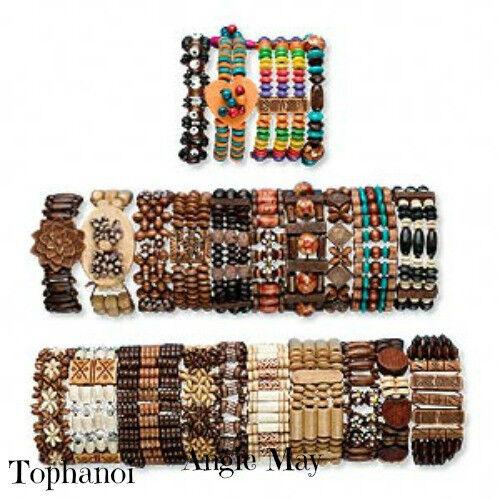 Wholesale Lot 24* Boho Wood Bracelets Great Jewelry Mix