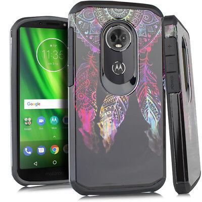 For Motorola Moto E5 Cruise Shockproof Rubber Design Phone Case Tempered Glass