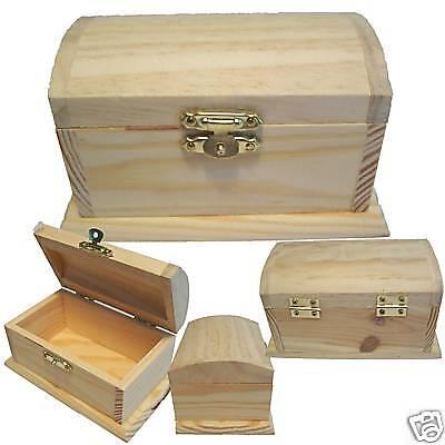 Wood Treasure Chest Pirate Coin Money Cash Trinket Jewelry Lock Art Stash Box