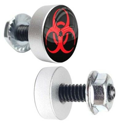 2 Silver Billet Cycle License Plate Frame Tag Bolts - ZOMBIE BIOHAZARD RED BLACK