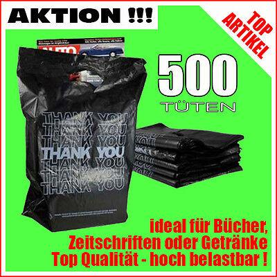 500 Plastiktüten Einkaufstüten Tragetaschen schwarz bedruckt Thank You in grau