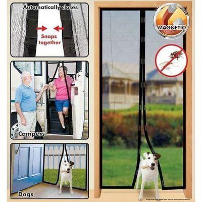 2x Instant Mesh Screen Door Magnetic Hands Free Bug Mosquito Fly Pet Patio Net