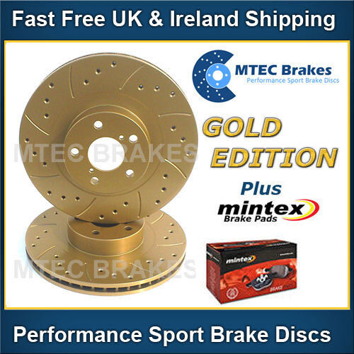 Lexus IS200 GXE10 99-05 Front Brake Discs Drilled Grooved Gold Edition & Pads