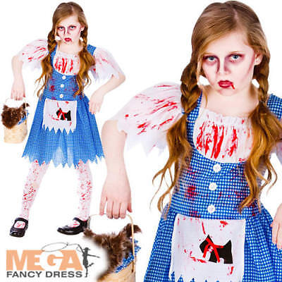 Deadly Dorothy Girls Fancy Dress Halloween Childs Kids Zombie Costume Outfit New