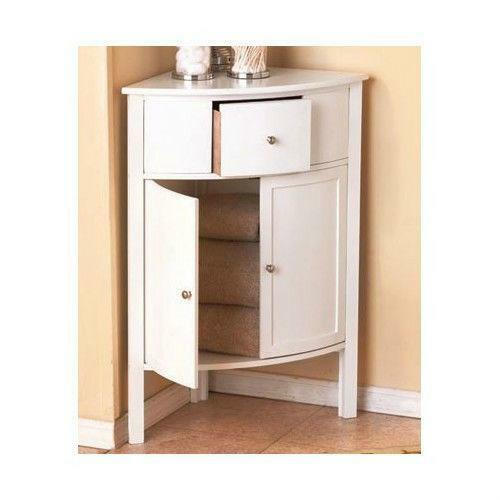 Corner storage cabinet ebay - White bathroom corner shelf unit ...