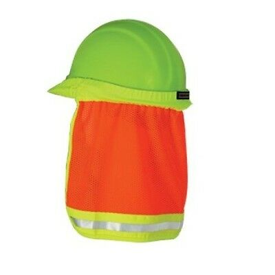 Orange Safety Hard Hat Neck Shield Sun Shade Helmet Reflective Hi Viz 19282