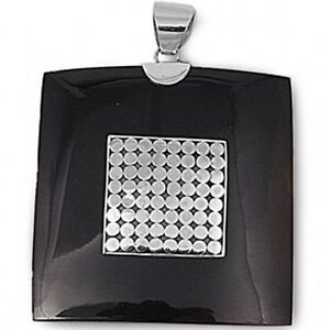 HUGE BLACK ONYX & STERLING SILVER PENDANT WITH ABSTRACT DESIGN
