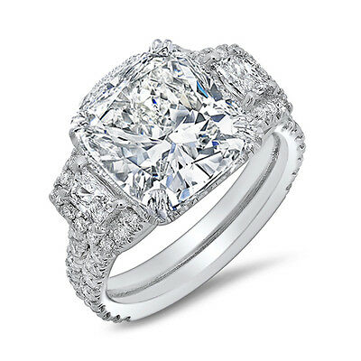 4.00 Ct Natural Cushion Cut 3-Stone Pave Diamond Engagement Ring - GIA Certified