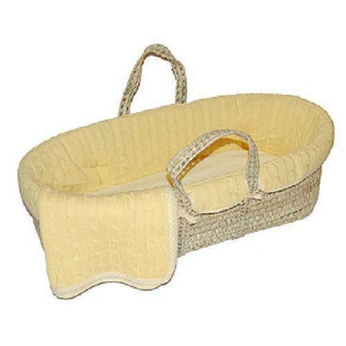 Tadpoles Cable Knit Moses Basket And Bedding Set Green