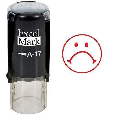 New Excelmark Frown Face 1 Round Self Inking Teacher Stamp A17 Red Ink