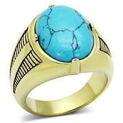 Mens Gold Turquoise Ring