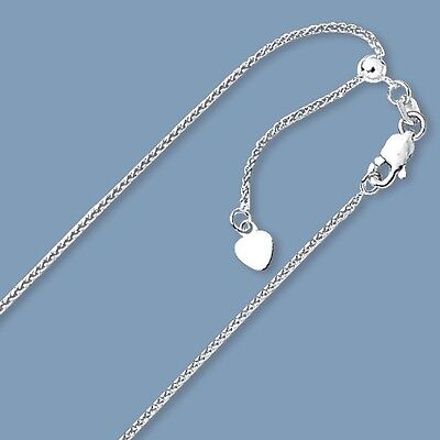 1.00mm Solid Adjustable Wheat Spiga Chain Necklace Real 14K White Gold 2.9gr - White Gold Spiga Chain