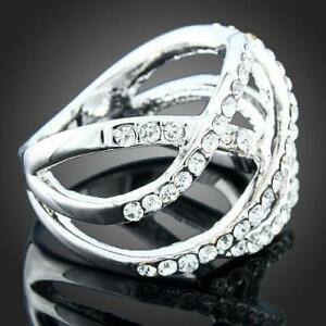 Crossing Lines White Austrian Crystals Ring