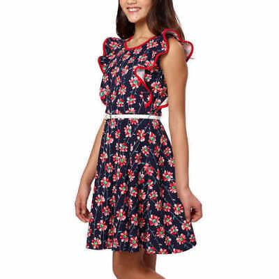 Paper Doll Girls Dress Navy/Red Floral Sleeveless Butterfly Ruffles Jr. Sz 7-16 - Girls Butterfly Dress