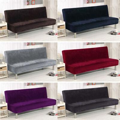 velvet armless sofa bed cover stretch futon