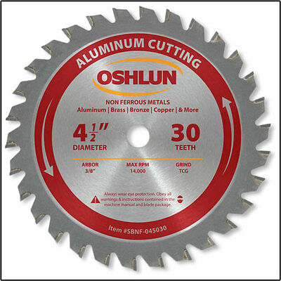 Oshlun Sbnf-045030  4-12 X 30t Aluminum Cutting Saw Blade 38 Arbor