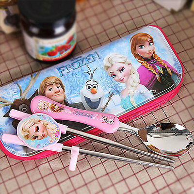 FROZEN Elsa Disney Training Chopsticks Spoon Stainless Case Set for Kids