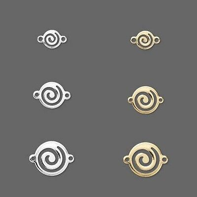 10 Round Swirl 2 Hole Link Charm Bead Findings Plated Over Brass Base Metal Beads Finding 2 Hole
