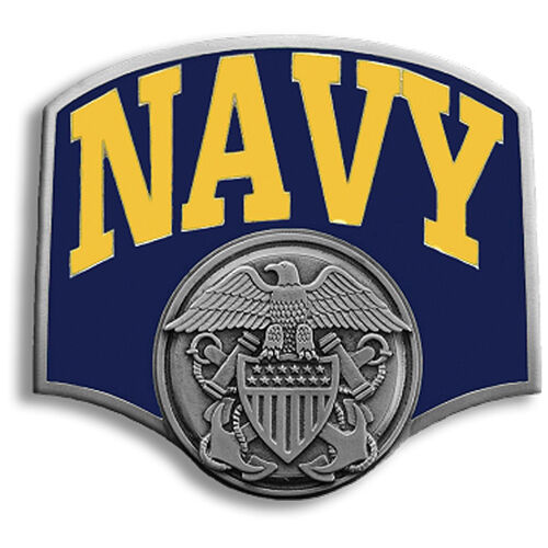 navy logo metal trailer hitch cover