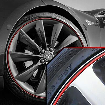 Wheel Bands Red in Black Pinstripe Rim Edge Trim For Tesla S & X (Full Kit)