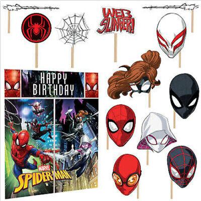 Happy Birthday Spiderman (SPIDERMAN Scene Setter HAPPY BIRTHDAY party wall decor w/12 photo booth)