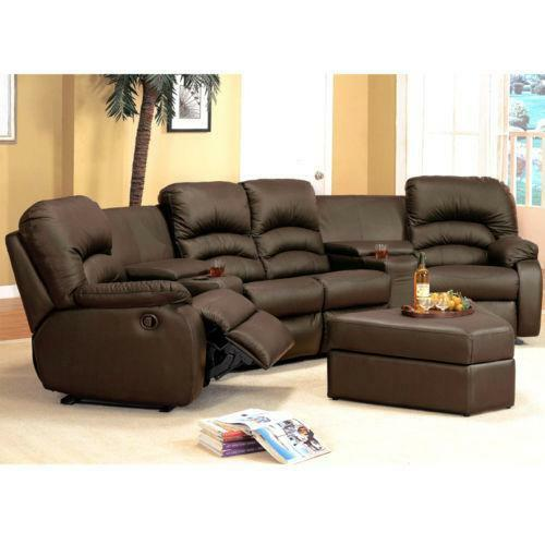 Brown Leather Sectional Recliner Ebay