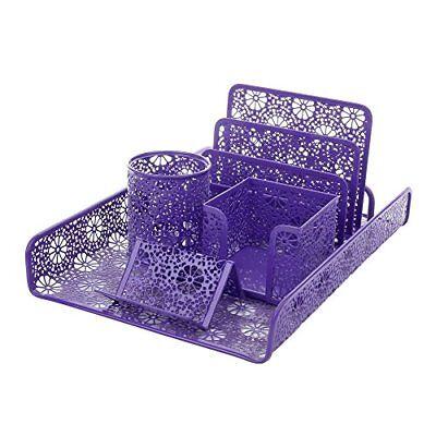 NEW Crystallove Set of 5 Purple Metal Mesh Desktop Supplies Organizer SHIPS FREE - Purple Office Supplies