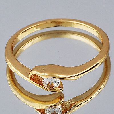 Stylish Yellow Gold Filled Clear Cubic Zirconia Ball For Womens Ring Size (Stylish Cubic Zirconia Ring)
