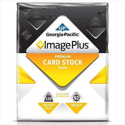 "GP - Image Plus Card Stock 110lb, 8-1/2 x 11"" White - 250 Sheets – 999261 New"