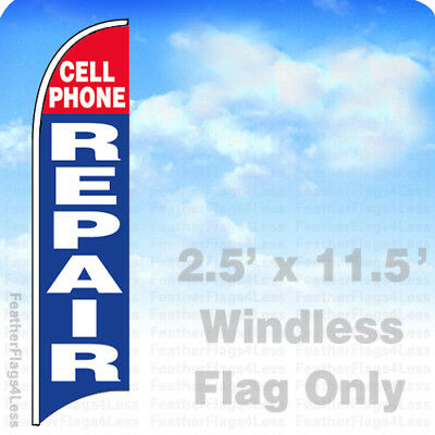 Cell Phone Repair - Windless Swooper Flag Feather Banner Sign 2.5x11.5 Bb