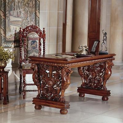 Hand-carved Solid Mahogany Antique Replica Gryphon Office Desk Furniture Art