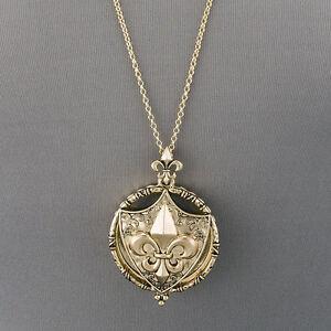 Fleur de lis pendant ebay antique gold chain fleur de lis magnifying glass tassel pendant necklace aloadofball Choice Image