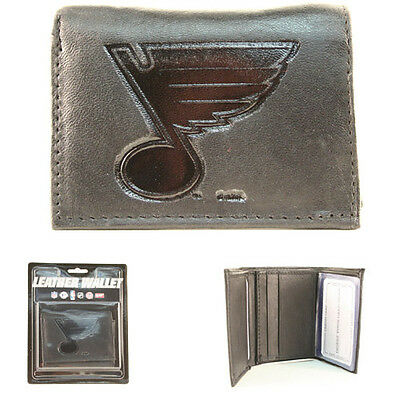 St. Louis Blues Ice Hockey Genuine Leather Wallet Black NHL Bifold Billfold