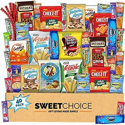 Care Package (40 Count) Snacks veriety pack Food Cookies Bars Chips Candy Back