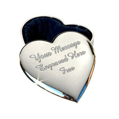 Personalised Engraved Heart Trinket Jewellery Box Engraved & P&P FREE