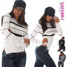 Striped Sexy Regular Size Jumpers & Cardigans for Women