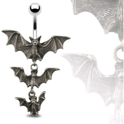 Triple Vampire Bat Belly Ring Navel Naval Gothic Halloween (w466)](Halloween Belly Button Rings)