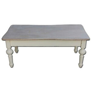 French country coffee table shabby chic vintage furniture for Antique cream coffee table