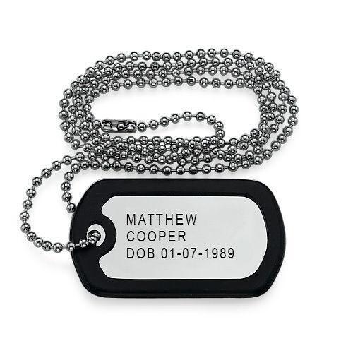 engraved dog tag necklace ebay. Black Bedroom Furniture Sets. Home Design Ideas
