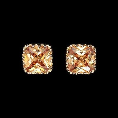 Square Champagne Color 18K Gold plated CZ Stone Earrings | Free Fast Shipping (Champagne Gold Color)