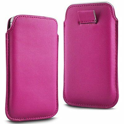 For HTC One (E8) CDMA - Pink PU Leather Pull Tab Case Cover Pouch ()