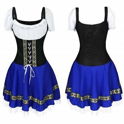 German Beer Girl Costume Blue Dress Bar Maid for Halloween Oktoberfest Cosplay
