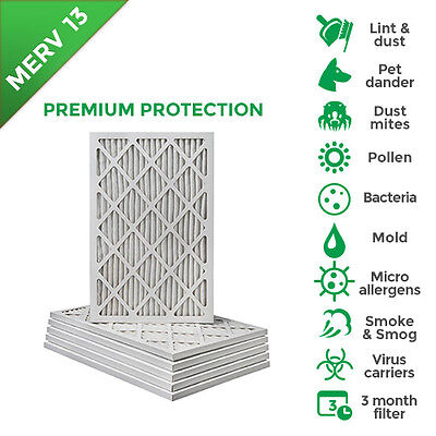 16x25x1 Merv 13 Pleated Ac Furnace Air Filters.  12 Pack